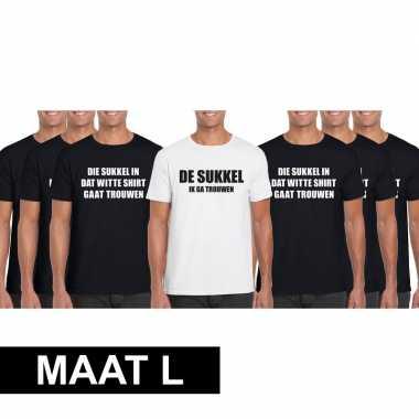 Vrijgezellenfeest heren t-shirt pakket de sukkel maat l