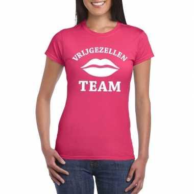Vrijgezellenfeest team t-shirt roze dames