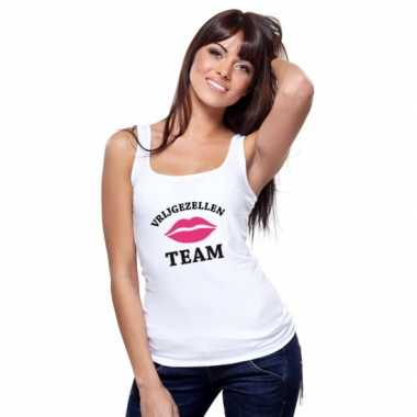 Vrijgezellenfeest team tanktop shirt wit dames