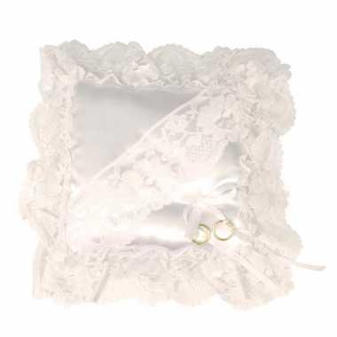 Wit trouwring kussen 20 cm