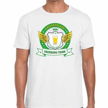 Wit vrijgezellenfeest drinking team t-shirt groen geel heren
