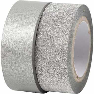 Zilver glitter tape 2 rollen