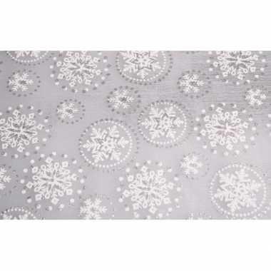Zilveren tafelloper sneeuwvlok met glitters 30 x 270 cm