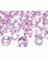 10 decoratie diamantjes lichtroze 2 cm