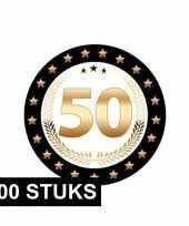100x luxe bierviltjes 50 jaar zwart goud