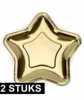 12x gouden kartonnen bordjes ster vorm 18 cm