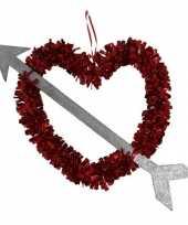 1x rood valentijn bruiloft hangdecoratie hart met pijl 45 cm