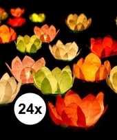 24x bruiloft huwelijk drijvende kaarsen lantaarns bloemen 29 cm