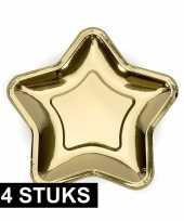 24x gouden kartonnen bordjes ster vorm 18 cm