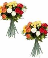 2x stuks oranje wit ranunculus ranonkel kunstbloemen boeket 35 cm
