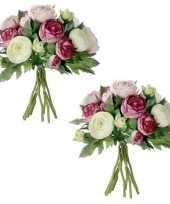 2x stuks roze ranunculus ranonkel kunstbloemen boeket 22 cm