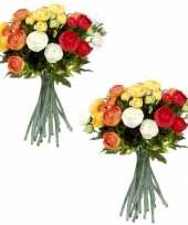 3x stuks oranje wit ranunculus ranonkel kunstbloemen boeket 35 cm