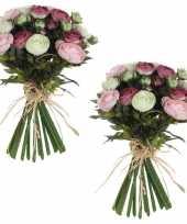 3x stuks roze wit ranunculus ranonkel kunstbloemen boeket 35 cm