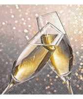 40x champagne thema servetten met glazen 33 x 33 cm