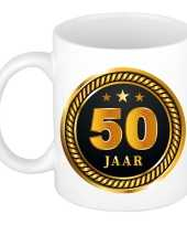 50 jaar cadeau mok beker medaille goud zwart voor verjaardag jubileum cadeau 50 jaar getrouwd