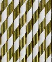50x gestreepte rietjes van papier goud wit