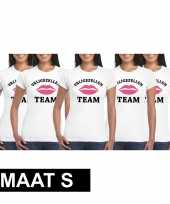 5x vrijgezellenfeest team t-shirt wit dames maat s
