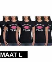 5x vrijgezellenfeest team t shirt zwart dames maat l