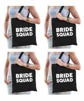 6x bride squad vrijgezellenfeest tasje zwart goodiebag dames