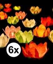 6x bruiloft huwelijk drijvende kaarsen lantaarns bloemen 29 cm