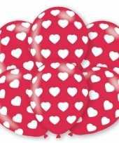 6x stuks party ballonnen met hartjes motief 27 5 cm