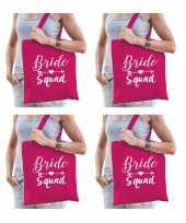 6x vrijgezellenfeest bride squad tasje roze goodiebag dames