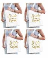 6x vrijgezellenfeest bride squad tasje wit goud goodiebag dames