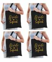 6x vrijgezellenfeest bride squad tasje zwart goud goodiebag dames