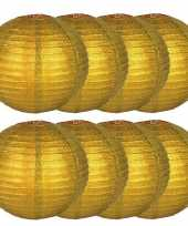 8x gouden lampionnen met glitters 25 cm