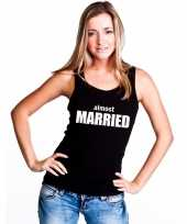 Almost married tekst singlet-shirt tanktop zwart dames