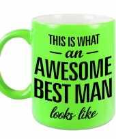 Awesome best man cadeau mok beker voor bruiloft getuige neon groen 330 ml