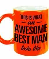 Awesome best man cadeau mok beker voor bruiloft getuige neon oranje 330 ml