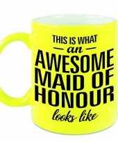 Awesome maid of honour cadeau mok beker neon geel voor getuige 330 ml