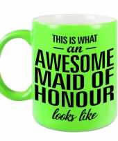 Awesome maid of honour cadeau mok beker neon groen voor getuige 330 ml
