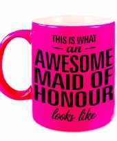 Awesome maid of honour cadeau mok beker neon roze voor getuige 330 ml