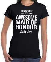 Awesome maid of honour getuige cadeau t shirt zwart dames