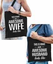 Awesome wife en awesome husband tasje cadeau bruid en bruidegom bruiloft huwelijk