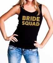 Bride squad gouden tekst tanktop mouwloos shirt zwart dames
