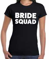 Bride squad tekst t shirt zwart dames