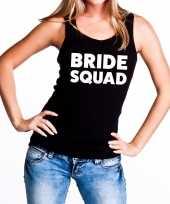 Bride squad tekst tanktop mouwloos shirt zwart dames