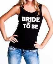 Bride to be tekst tanktop mouwloos shirt zwart dames
