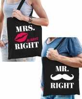 Bruiloft cadeau mr right en mrs always right tasje voor volwassenen