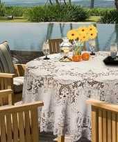 Buiten tafelkleed tafellaken ivoor wit amira 180 cm rond