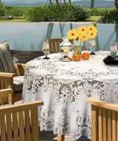Buiten tafelkleed tafellaken wit amira 180 cm rond