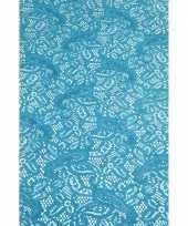 Buiten tafelloper aqua blauw antislip 150 x 40 cm