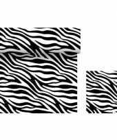 Dieren thema tafeldecoratie set zebra print tafelloper servetten
