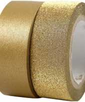 Goudkleurig glitter washi tape 4x rollen