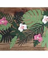 Hawaii thema feest decoratie orchidee bladeren 18x stuks