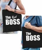 Katoenen tassen zwart the boss en the real boss volwassenen 10186015