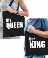 Katoenen tassen zwart wit his queen en her king volwassenen